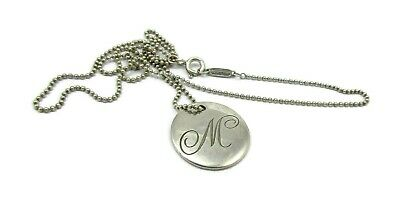 """Tiffany & Co Sterling Silver 925 Letter """" M """" Initial Round Disk Pendant"""