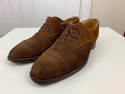 1aef38f03cb Peal   Co. for Brooks Brothers Mens Brown 12 Suede Wing Tip Cap T Shoes