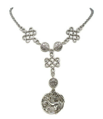 Antique Necklace with Three headed Dragon - Game of Thrones inspired Jewelry