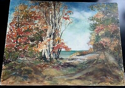 Oil On Board Painting Beautiful Gold Autumn On The Lake Signed By C. Hutchison.