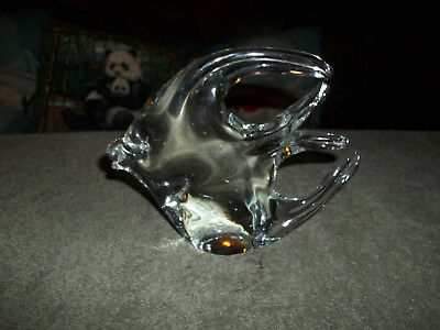 Clear Art Glass Angel Fish Tropical Paperweight Vintage
