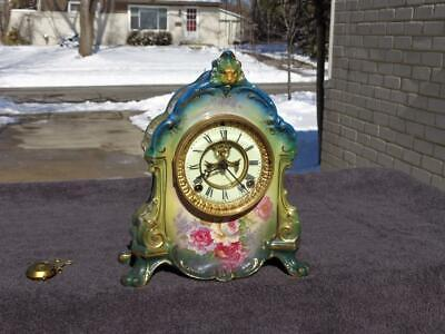 Antique Ansonia Floral Green & Blue Porcelain China Shelf Mantle Clock Runs Good