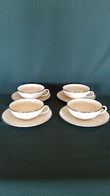 Set of 4 Franciscan China Ivory w/ PLATINUM BAND Coffee Cups w/ Saucers