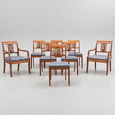 19Th Century French Empire Mahogan Pair Of Armchairs And Six Chairs