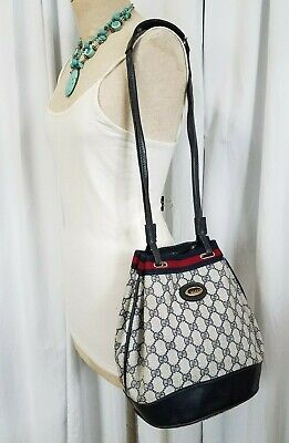 dc85b43b56f3 Vintage Gucci Bucket Style Shoulder Bag Purse GG Monogram Stripe Authentic  Rare