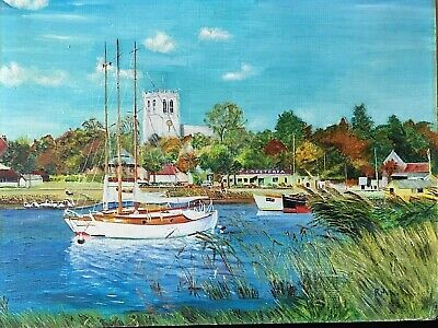 Oil On Board Christchurch South England Harbour Marina Painting Signed By Artist