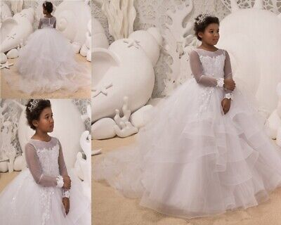 Kids Lace Ruffle Flower Girl Dresses Long Sleeve Birthday Wedding Party Gown