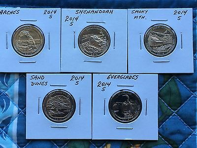 "5 Piece Set Of 2014  National Park ""s"" Mint Quarters"