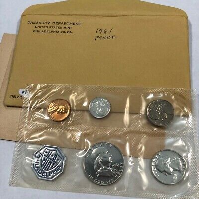 1961 Silver Proof Set 5 Coin in Original Unopened envelope 3 coins 90/% Silver