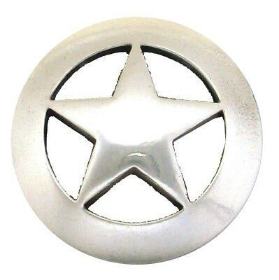 "Antique Polished Silver Star Concho   1 1/2"" (38mm)"