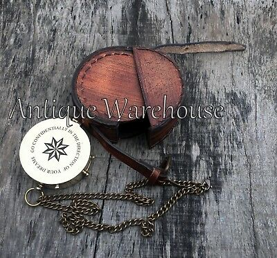 Nautical Antique Brass Magnetic Compass With Leather Case