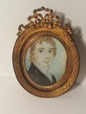 1800s Young  Gentleman Miniature watercolor on wafer board set in bronze frame