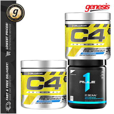 2 x C4 Original ID Series Pre-Workout by Cellucor + Rule 1 BCAA