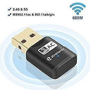 WiFi Network Adapter 600Mbps Dual Band 2.4GHz/5Ghz USB Wireless Dongle Win Mac