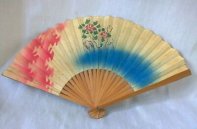 1950s Hand Fan Vintage hand Painted floral wood chinese paper fan