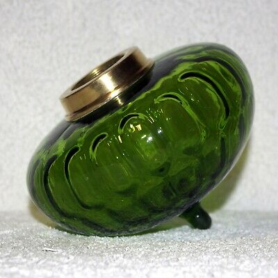 French Deep Olive Green Thumb Print Kerosene Oil Lamp Font Fount