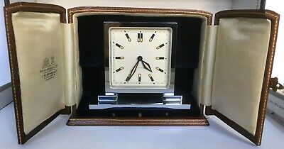 Art Deco Hunt& Roskell & J.w.benson Swiss Travel Clock In Outer Leather Case