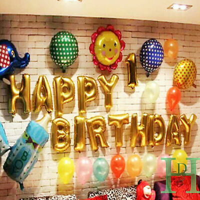 Happy Birthday Self-Inflating Balloon Banner Bunting Party Large Baloons Gold Uk