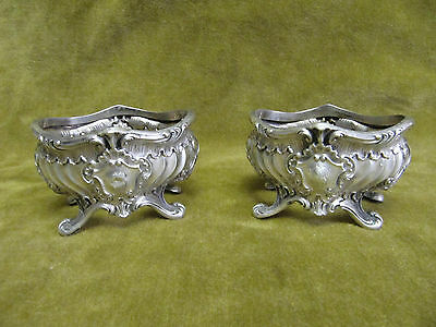 2 salieres argent minerve rocaille (french silver salt cellars) 44gr