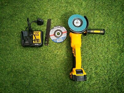 DeWalt DCG412 18V Angle Grinder With 5Ah Battery, Charger And 3 Discs