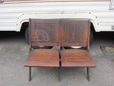 Antique Vintage Double Folding Wooden Chair / Bench ,Train Station,Theater Seat
