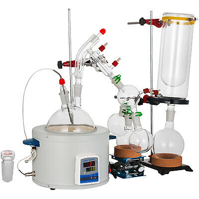 2L Short Path Distillation Glassware Kit 380°C Fast Heat Heating Mantle HOT