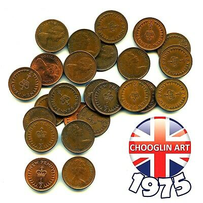 A set of (x3) 1975 British Bronze ELIZABETH II HALF NEW PENNY Coins