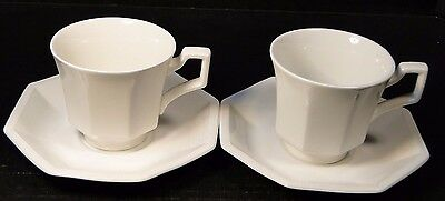 """Johnson Brothers Heritage Ironstone White Cup and Saucer 5 1/2"""" 2 Sets Crazing"""
