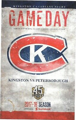 Kingston Frontenacs v Peterborough Petes  Programme OHL  16th February  2018