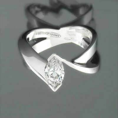 Marquise Diamond Ring Solitaire 18K White Gold 1.15 Ct Lady Size 5.5 6.5 7 9