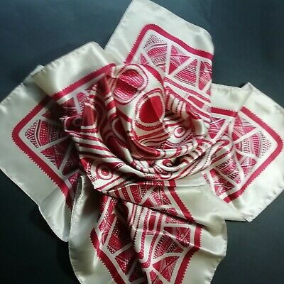 Vintage Red and Cream Scarf - Geometric Pattern - La Redoute