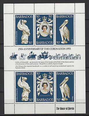 Barbade feuillet neuf 25th anniversary of the coronation 1953 / T942