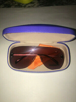 Emilio Pucci Shield Sunglasses Silver Mirror Red Pink Authentic Italy