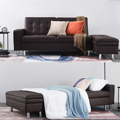 Modern Faux Leather Corner Sofa Bed with Storage Ottoman Couch Recliner Sofabed