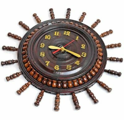 Unique Wall Clock 35cm Handmade Wooden Rosewood Watch for Decor Battery Operated