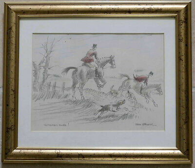 Set of Four Original Equestrian Hunting pastel / drawings framed by John Spencer
