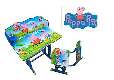 Kids Children Home Study PEPPA PIG Table Storage Cartoon Desk  & Stool Set