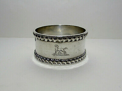 Victorian Solid Silver Napkin Ring with Dog Engraving London 1894
