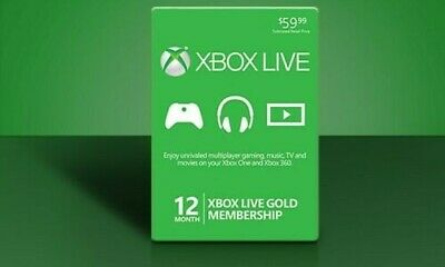 Microsoft Xbox Live Gold Membership 12 Month Subscription Code Same Day Delivery