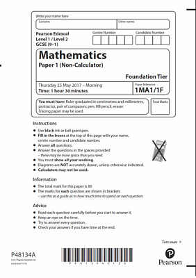 New Edexcel (9-1) GCSE Maths Past Paper 1MA1  Higher or Foundation