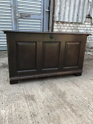 Antique Late 18th Century Oak Coffer With 3 Panel Front