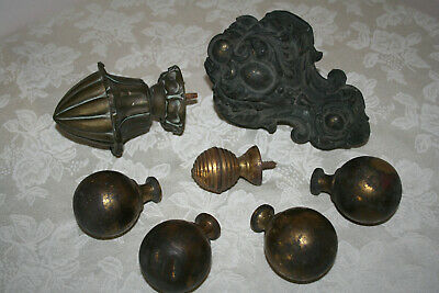 Mixed Lot Timeworn Antique Metalware Finials & Bedknobs For Projects.