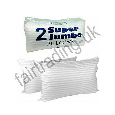 New Hotel Quality Deluxe Bounce Back Pillows Stripe Extra Filled Super Jumbo X 2