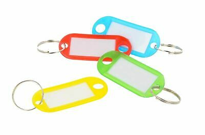 10 x Coloured Plastic Key Fobs Luggage ID Tags Labels Keyrings