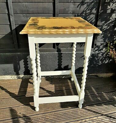 Antique Oak Side Table With Barley Twist Legs, Pie Crust Edge and Decoupage Top