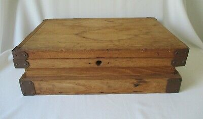 Rare Antique Solid Oak Wood Box w/Copper Brackets ~ Zippy Model Airplane Kit Box