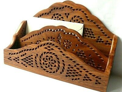 Small wooden letter rack holder with beautifully carved finish.