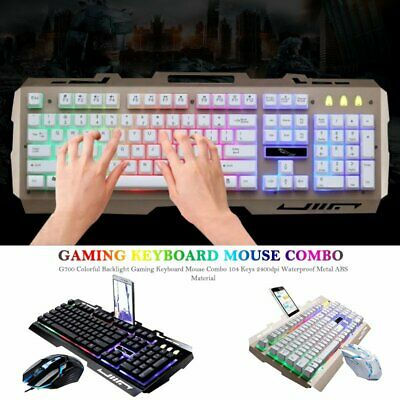 G700 Colorful Backlight Gaming Keyboard Mouse Combo 104 Keys 2400dpi Waterproof