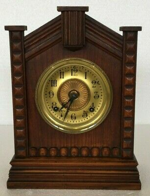 Vintage Antique ANSONIA New York USA Wooden Cased Mantel 8 Day TURKEY Clock GC