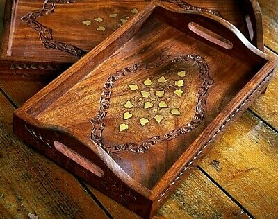 Small solid wood serving tray with strong handles & brass inlaid detail.